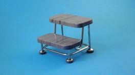 Pojízdný dvojschůdek s pryžovými stupni, kostra nerezová, antistatický