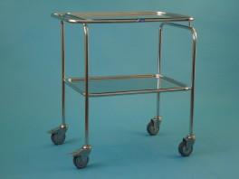 Vozík malý s jedním sníženým madlem se dvěma tácy, kostra chromovaná