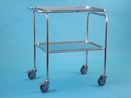 Vozík střední s jedním sníženým madlem se dvěma tácy, kostra chromovaná