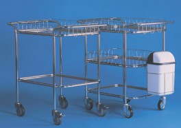 Vozík malý s horními madly se 3 tácy, dvěma ohrádkami a nádobou na odpad, kostra chromovaná