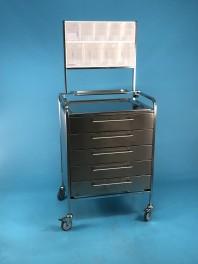 Stolek UNI nerez s 5 zásuvkami 13 cm + nástavba s 9 plast.boxy