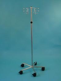 Infuzní stojan pojízdný - 2 háčky, 2 držáky na infuzní lahve