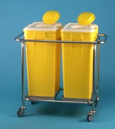 Vozík se 2 plastovými kontejnery na nebezpečný odpad