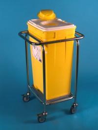 Vozík s plastovým kontejnerem na nebezpečný odpad