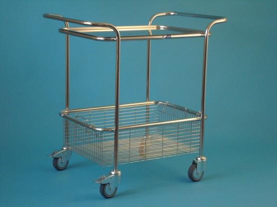 Vozík malý s horními madly s košem a tácem, kostra chromovaná
