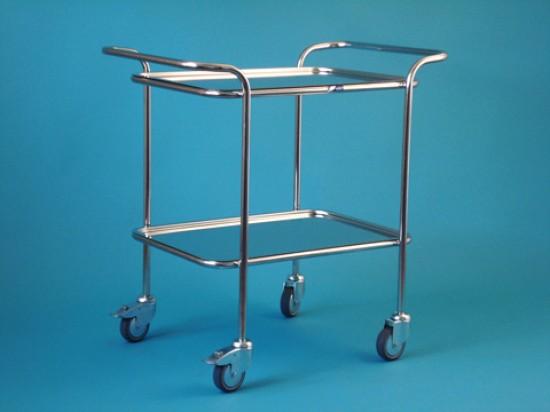 Vozík malý s horními madly se dvěma tácy, kostra chromovaná